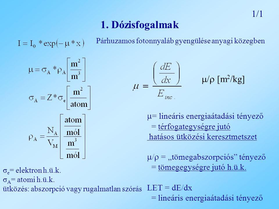1. Dózisfogalmak 1/1 / [m2/kg] = lineáris energiaátadási tényező